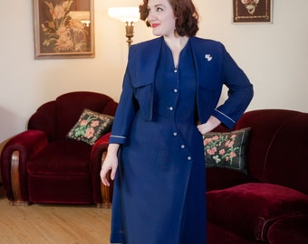 Vintage 1940s Dress Set - Killer Navy Blue Rayon 40s Dress and Matching Jacket with Gingham Buttons and Rhinestone Hearts