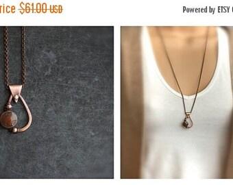 ON SALE Enamel Teardrop Pendant Necklace - Vitreous Glass Enamel, Oxidized Copper, Rust Brown, Dark Grey, Wire Wrapped Metalwork, Boho Jewel