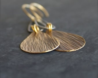 ON SALE Sterling Silver Drop Dangle Earrings - Rustic Dark Grey Oxidized Patina, Textured Gold Brass Teardrop, Mixed Metal Boho Jewellery