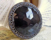 "Antique Large 1.875"" Black Glass Cabochon Sewing Button with Stamped Filigree Border"