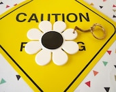 Vintage 1960's Black and White Flower Keychain White Daisy Purse Accessory