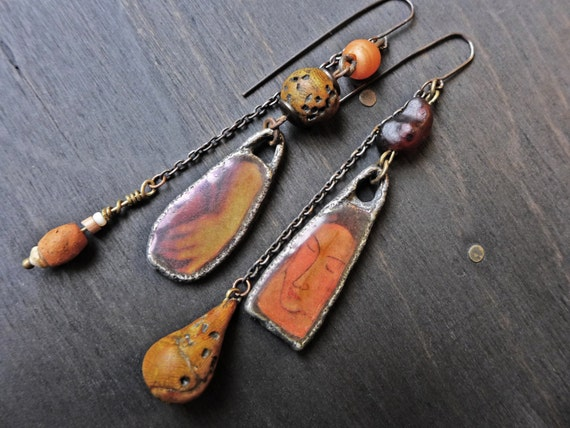 "Rustic assemblage earrings in earthy orange - ""When you Appear"""