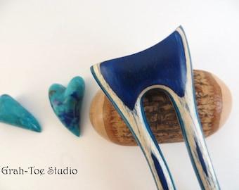 Carribean Waves Wood Hair Fork,Mini Mermaids Tail,Hairfork,Hair Sticks,Grahtoestudio,Hair Stick, Hair Forks, Wooden Hair stick,Hair Pins
