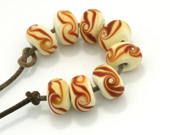 Brown Twist Handmade Glass Lampwork Beads (8 count) by Pink Beach Studios - SRA (2285)