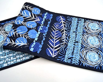 Boho Quilted Table Runner in Shades of Blue, Botanical Table Covering
