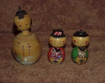 3--Vintage--KOKESHI--Dolls--Japanese--Nodders--Bobble Head--One Very Old & Signed--Japan