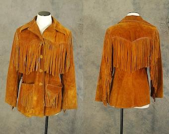 vintage 1960s Fringe Leather Jacket - 60s Boho Rust Brown Suede Coat -  Western Leather Jacket Sz M L