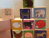 9 dog blocks. Hand Drawn and Painted. Made to Order. Kid's room decor. For Children and Adults.