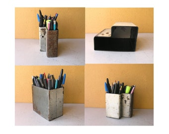 Metal Pen Cup Pencil Holder Utensil Box Industrial Office Desk Table Storage Counter Supply Organizer Coworker Gift for Men White Gray Pipe