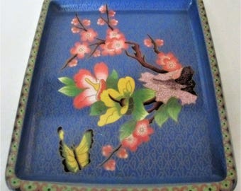 Vintage DAHAR Decorated Ware Metal Tin TRAY England Butterfly Floral Dogwood Tree Scalloped Design Rim Blue Yellow Pink Red