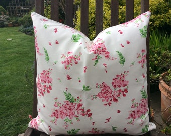 Pink floral and green Cushion Cover, Pillow Cover 18x18inch or 45x45cm