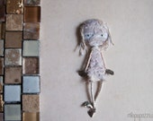Mummy Doll Brooch, Art Doll, mixed media collage