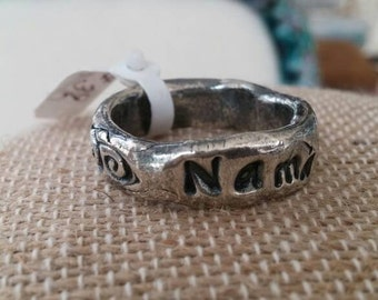 handcrafted fine silver NAMASTE for your finger