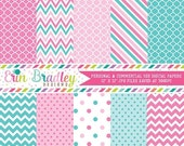 60% OFF SALE Pink and Blue Digital Paper Pack Great for a Gender Reveal Party Digital Backgrounds Polka Dots Stripes & Chevron Patterns