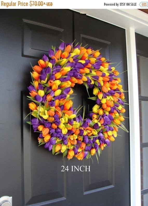 SPRING WREATH SALE Custom Spring Wreath- Door Wreath- Tulip Wreath Custom Colors- Summer Wreath- Outdoor Spring Decor