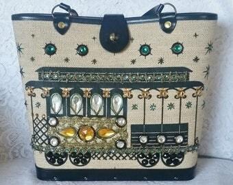 Vintage Enid Collins Handbag, 1964, signed, Bucket Style Handbag, Cable Car, EC Handbag, Vintage Purse