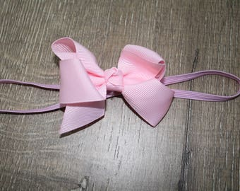 pink baby headband, 0-6 month baby bow, hair band, new baby girl, pink flower headbands, rhinestone bow, newborn girl, baby gift, baby