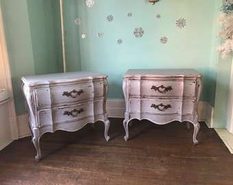 Fab pair French Nightstands Gray white distressed vintage shabby chic cottage