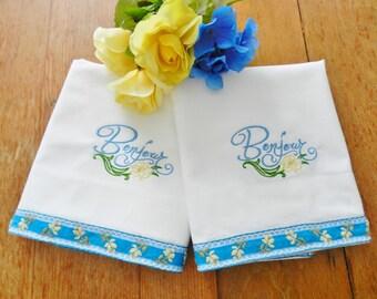 Bonjour Pillowcases, NOS Pillowcases, Machine Embroidery Pillowcases, Never Used Pillowcases, Cotton Pillowcases, Vintage Pillowcases