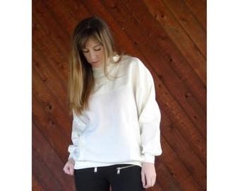 extra 30% off sale . . . White Nylon Panel High Neck Sweatshirt - Vintage 80s - S/M