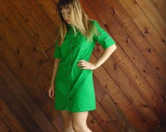 extra 30% off sale . . . Bright Lime Green Mod Mini Dress - Vintage 60s - SMALL