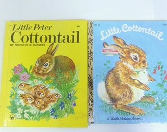 Little Peter Cottontail Wonder Books Little Cottontail Little Golden Book Set of 2 Vintage Childrens Bunny  Rabbit Stories  Easter Bunny