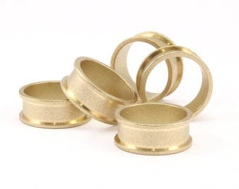 Brass Channel Ring - 10 Raw Brass Channel Ring Settings (17mm) N477