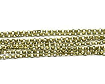 Green Rolo Chain, Antique Bronze Tone Brass Soldered Chain (1.8mm) 3m-5m-10m-20m-50m-90m Mb 8-20