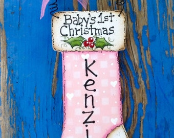 Personalized Baby Girl 1st Christmas Ornament
