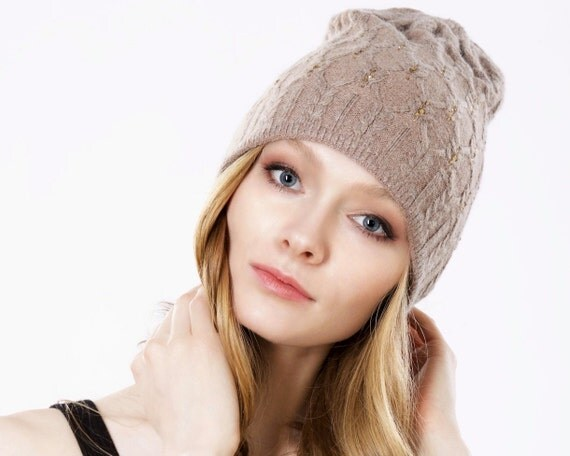 Women's Gift For Her Winter Slouchy Hat Cable Knit Beanie Taupe Hat Cashmere Wool Hat Grunge Hat Fall Accessories Fall Fashion Knit Hat