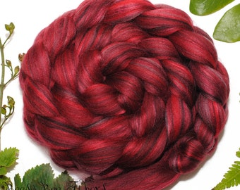 SANGRIA - Custom Blend Merino and Bamboo Rayon Combed Top Wool Roving for Spinning or Felting in bright colors -4 oz