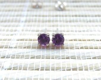 Amethyst Stud Earrings Sterling Silver February Birthstone 4mm