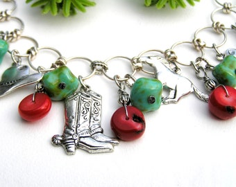 Silver Charm Bracelet, Cowgirl Bracelet, Coral Turquoise Green, Horse Charm Bracelet