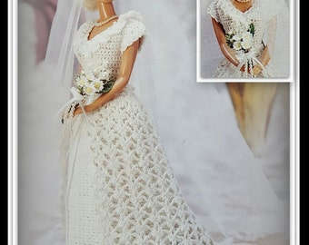 Barbie Bridal Dress Crochet Pattern - Fashion Doll Size - Gown, Overdress & Crocheted Headpiece with Veil - PDF 10190901