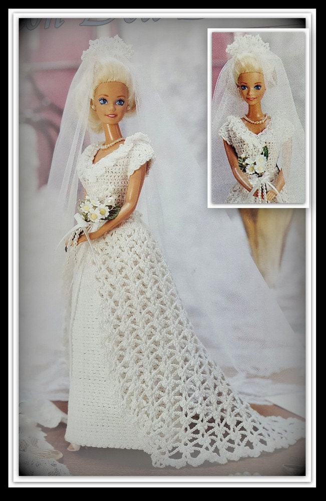 Barbie bridal dress crochet pattern fashion by for Crochet wedding dress patterns