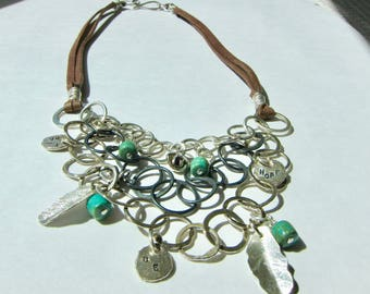 Leather Necklace, With Sterling Silver Hammered Links, Turquoise and Silver Charms