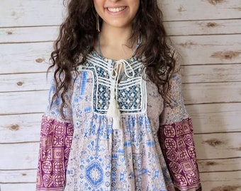Bohemian Embroidered Paisley Print Blouse Boho Gypsy Hippie Top Shirt Size Medium Large