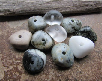 BEACH GLASS & STONE Beads Center Drilled Sea Glass Beads Stone Supply