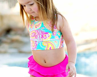 Girls bathing suit toddler swimwear monogrammed swimsuit tankini 2 piece ruffled Easter spring break Outer Banks vacation BeachHouseDreams