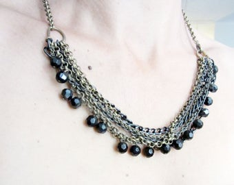 Black and Gold multi strand statement necklace, Black dangle crystals necklace, metal chain multi stand necklace