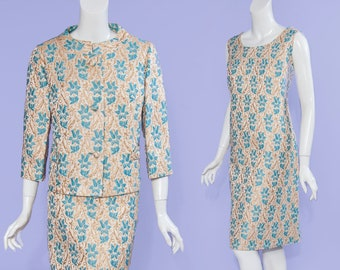 60s The Style Shop of Wilmington, NC gold & teal brocade dress + jacket, size L/XL