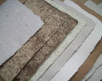 """10 sheet pk assort. handmade paper. Deckle edge. 5"""" x 8"""". Textured. Journaling paper. Total weight of pack is 3 oz. Handmade USA"""