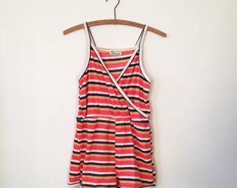 Vintage Striped Terry Cloth Romper 80's K-Mart Womens XS