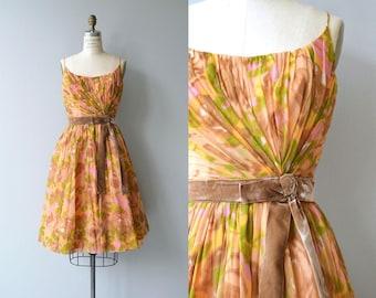 Hespiria silk dress | vintage 1950s floral dress | floral silk 50s dress