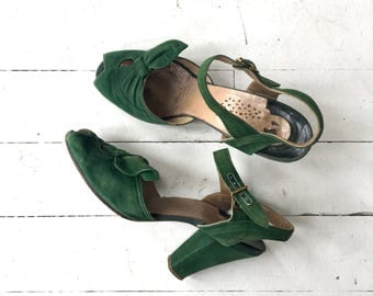 Green Leafbow peeptoes | vintage 1940s shoes | green 40s shoes 6.5