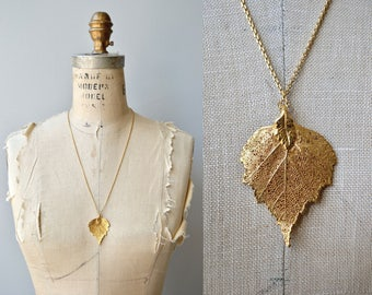Gold Dipped Leaf | vintage 1980s gold leaf necklace | 80s gold plated pendant