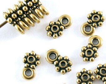 TierraCast Pewter Spacer Beads-Antique Gold DAISY HEISHI + LOOP 5mm (20)
