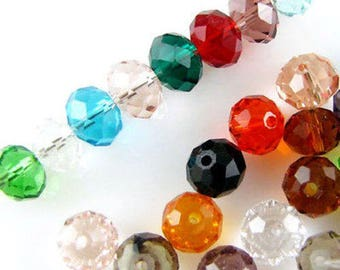Faceted Rondelle Glass Beads-MULTI MIX 6x8mm (100)
