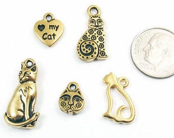 TierraCast Pewter Kitty Mix-Gold CAT CHARM SET (5 Pieces)