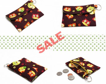 Sale & Discontinued - Card, Cash, Coin Pouch with a Key ring, Small zipper pouch, ID, Card Holder with Back Zipper pocket - Owls on Brown